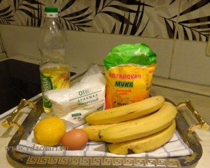 Necessary products for cooking bananas in batter