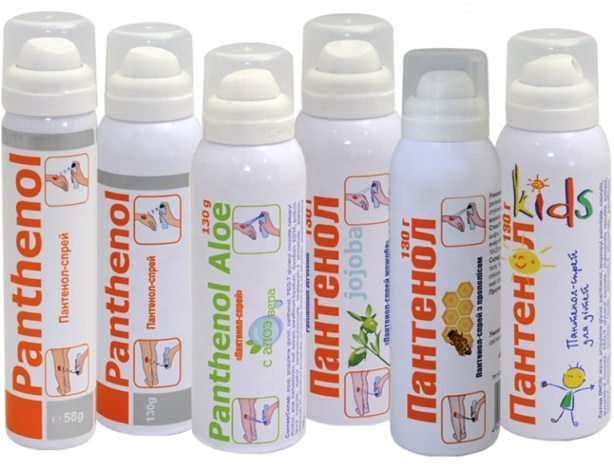 panthenol spray to treat burns